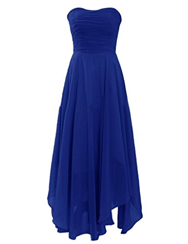 H.S.D Womens Strapless Tea Length Chiffon Bridesmaid Dress Prom Gowns Royal Blue