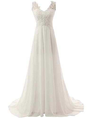 Chupeng Romantic Beach Wedding Dress A-line Empire-Waist Maternity Gown Plus Size ()