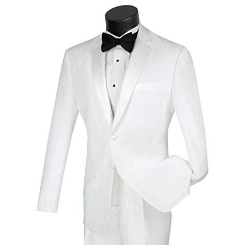 (Lucci Men's 2 Button Slim-Fit Formal Polyester Tuxedo Suit w/Sateen Lapel & Trim [Color: White | Size: 44 Long / 38 Waist])