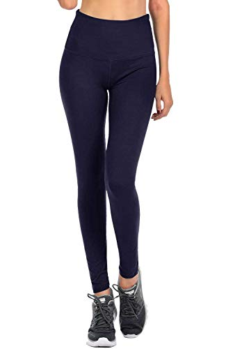 VIV Collection Signature Leggings Yoga Waistband Soft w Hidden Pocket (L, Navy)