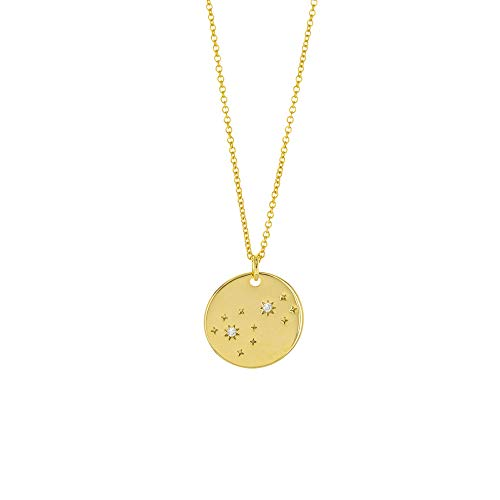 Columbus 14K Gold Plated Astrology Horoscope Constellation Zodiac Coin Necklace (Scorpio)