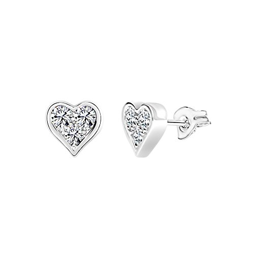 Solstice Sterling Silver 925 3-Stone Heart Stud Earrings Made with Swarovski Zirconia (1/2 cttw)