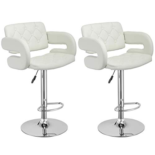 COSTWAY Swivel Bar Stools Leather Hydraulic Pub Chair Adjustable, Set of 2 White