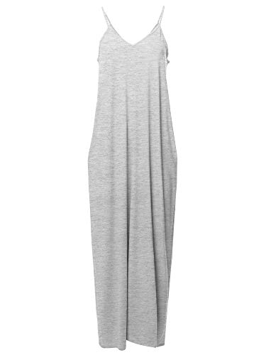 Casual Premium Adjustable Strap Side Pockets Loose Long Maxi Dress Heather grey L