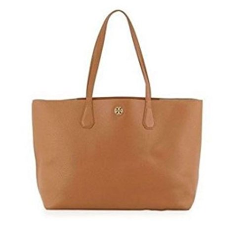 Tory Burch Perry Leather Tote Bag, Bark/Light - Gold Burch Tory Bag