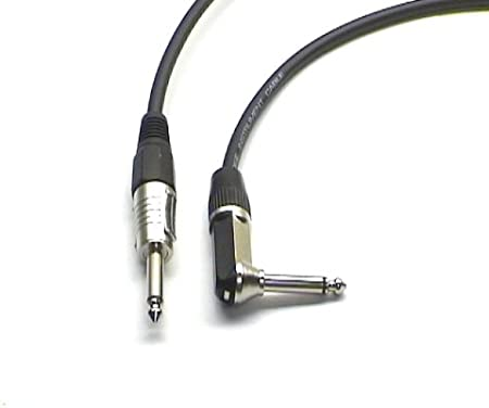 "Lindy 0.5m Guitar Lead Black 1//4/"" Straight Jack to 1//4/"" Right Angled Jack"