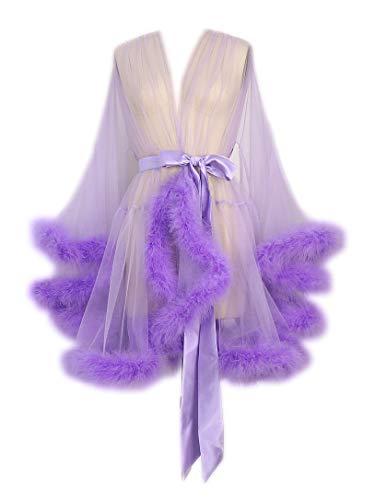 Sexy Feather Bridal Robe Tulle Illusion Short Wedding Scarf New Custom Made ... (Short-Purple)