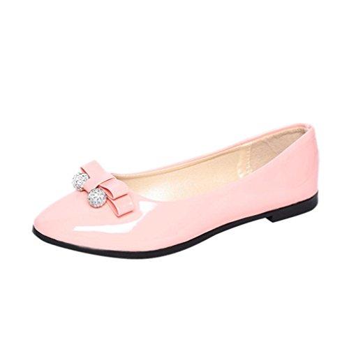 Inkach Dames Platte Schoenen - Klassieke Ronde Teen Ballet Flats - Ladise Casual Slip Op Schoenen Roze