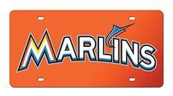 Rico MLB Miami Marlins Wordmark Laser Cut License Plate, Orange