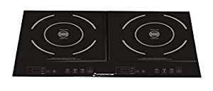 GForce GF-P1369-854 Portable Electric Double Induction Stove Burner Cooktop with Heat Function, Temperature Control & Timer - 1800 Watts