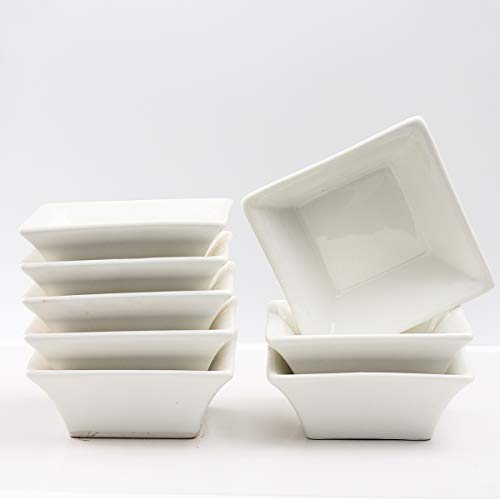 (5oz ramekins Square Dishes White Porcelain Ramekins for Baking Set of 8 XUFENG)