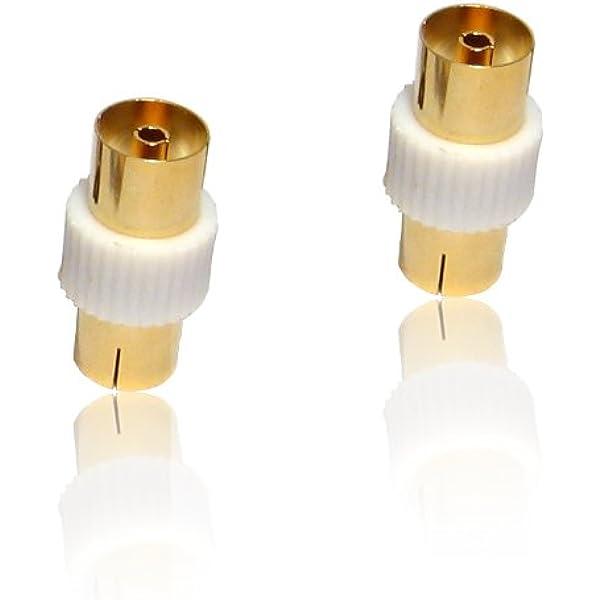 2 x dorado coaxial para antena de televisión hembra adaptador ...