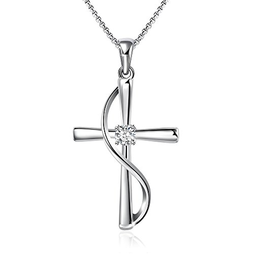 Cross Pendant Necklace - Angelady God in My Heart Faith Hope Love Cross Pendant Necklace Jewelry Valentine Birthday Gifts for Women,Crystals from Swarovski (Silver)