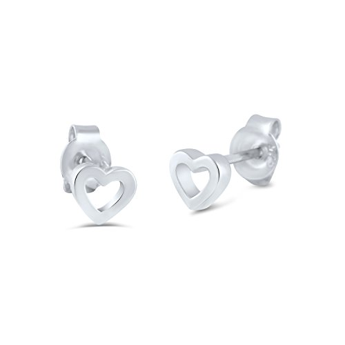 Sterling Silver Hollow Heart Stud Earrings - (4 Mm Heart Stud)