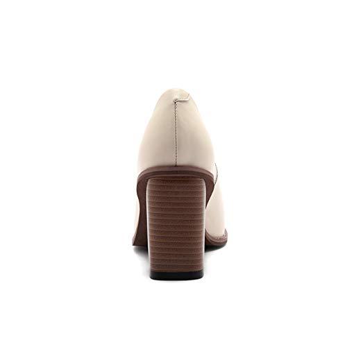 Uretano Para Zapatos Adeesu De Sdc06274 Mujer Tacón Beige AWz7PZq