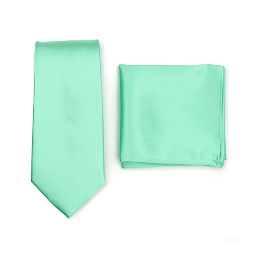 Bows-N-Ties Men's Solid Necktie and Pocket Square Set (Mint)