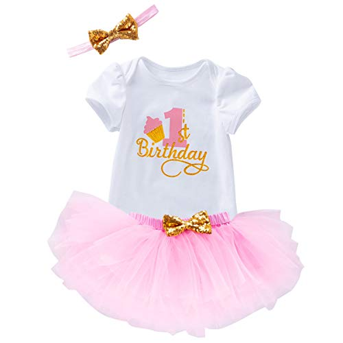 Baby Girl Cake Smash Outfits 1st Birthday Jumpsuit Tutu Skirt Elastic Headwear 3PCS Set Celebration Pagant Party Holiday Formal Event Pink 1st Birthday 12-18 Months -