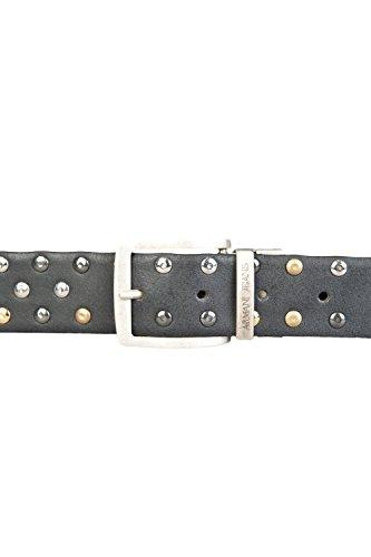 Armani Jeans Hombre C6ajustable y Reversible cinturón de piel con tachuelas, Negro, Talla única