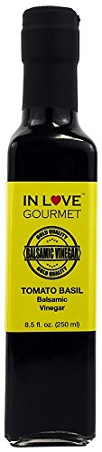 In Love Gourmet Tomato Basil Balsamic Vinegar 250ML/8.5oz We Love it as a Dressing on a Caprese salad, Delicious… 1 Delicious drizzled on any number of cooked vegetables. Excellent stand alone salad dressing. We love it as a dressing on a Caprese salad,