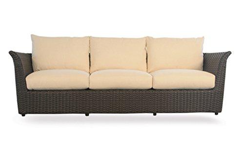 Lloyd Flanders Flair Sofa, Espresso Vinyl & Seaside Retreat Palm fabric