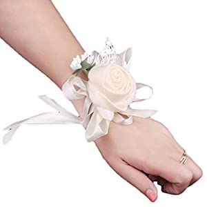 Creaon Wedding Wrist Flower Wrist Corsage Women Bride Bridesmaid Wrist Flower Floral Hand Flower Exquisite Wedding Ribbon Flower Artificial Rose Flowers for Wedding Decoration 53