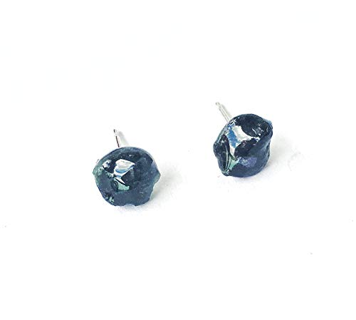 Green Raw Emerald Stud Earrings in Sterling Silver - May Birthstone Healing Crystal Jewelry for Men and Women ()