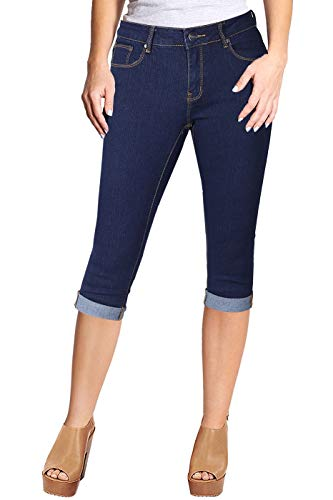 2LUV Women's Stretchy 5 Pocket Skinny Capri Jeans Dark Denim 7