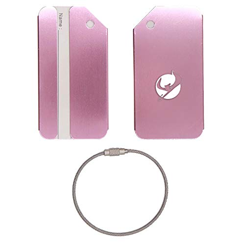(MLB Tampa Bay Rays Logo Art STAINLESS STEEL - ENGRAVED LUGGAGE TAG - SET OF 2 (ROSE GOLD) - FOR ANY TYPE OF LUGGAGE, SUITCASES, GYM BAGS, BRIEFCASES, GOLF BAGS)
