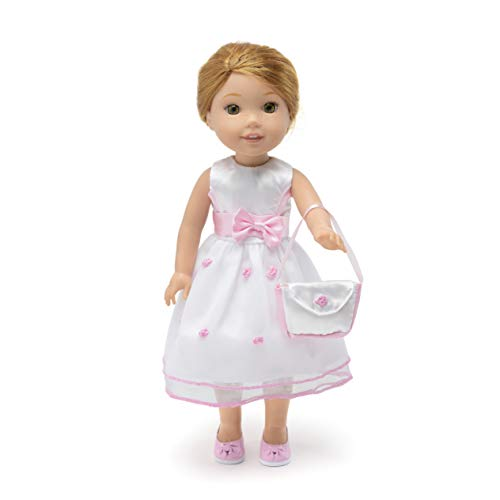 (14 Inch Doll Clothes - Fancy Flower Dress with Matching Pink Dress Shoes and Purse - Fits American Girl Wellie Wishers Dolls)