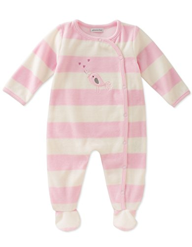 ABSORBA Baby Girls' Velour Footie, Baby Pink/Love Letter White, 3-6 Months