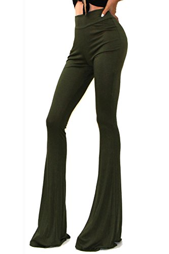 (Vivicastle Women's Boho Solid Hippie Wide Leg Flared Bell Bottom Pants (Large, Olive))
