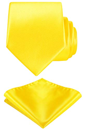 Solid Color Neck tie, Pocket Square set,Satin Super Fine Micro Fiber,Silky Finishing,Gift Box Packing. (Yellow)