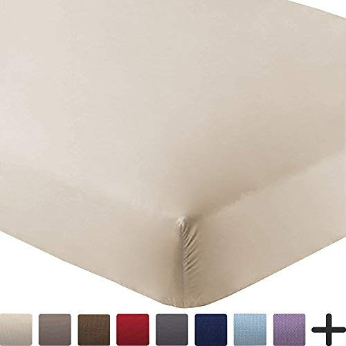 Bare Home Fitted Bottom Sheet Premium 1800 Ultra-Soft Wrinkle Resistant Microfiber, Hypoallergenic, Deep Pocket (Twin, Sand)