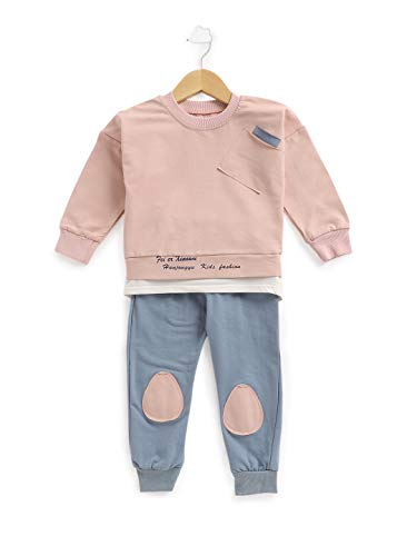 MDX Hopscotch Boys Cotton and Spandex Solid Full Sleeves Sweatshirt and Pants Set in Pink Color