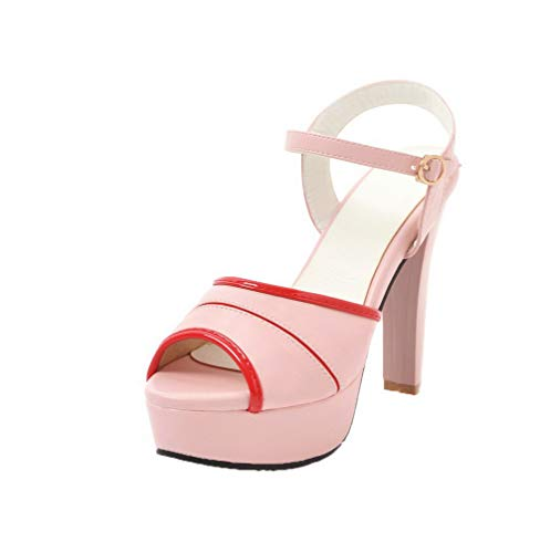 WeenFashion Women's High-Heels Pu Solid Buckle Open-Toe Sandals, AMGLX010034, Pink, 40