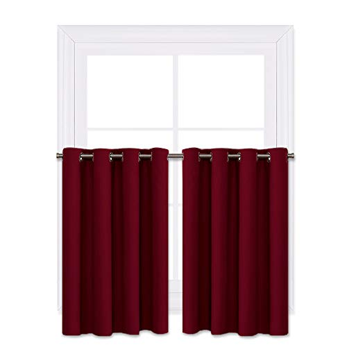 NICETOWN Bedroom Half Window Curtains - Home Decoration Short Drapes Eyelet Top Draperies (Burgundy Red, 1 Pair, 52 Width x 36
