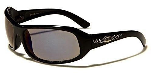 NEUF Choppers Designer homme femme motard rectangle Lunettes de soleil Enveloppantes COMPLET UV400 Protection GRATUIT vibrant Hutt poche inclus noir/transparent verre fumé