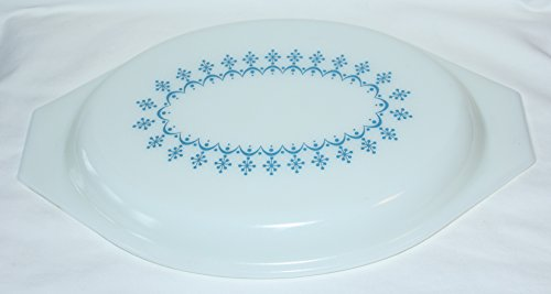 Vintage PYREX Glass SNOWFLAKE BLUE Oval Divided Dish Replacement Lid