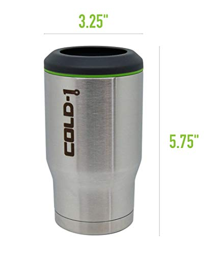 REDUCE Cold-1 Stainless Steel Can & Beer Bottle Cooler/Holder – Keeps Drinks Ice Cold – Double Wall Vacuum Insulated, Travels Anywhere, Sweat-Free Design, Fits 12oz Cans/Glass Bottles - Stainless by REDUCE (Image #3)