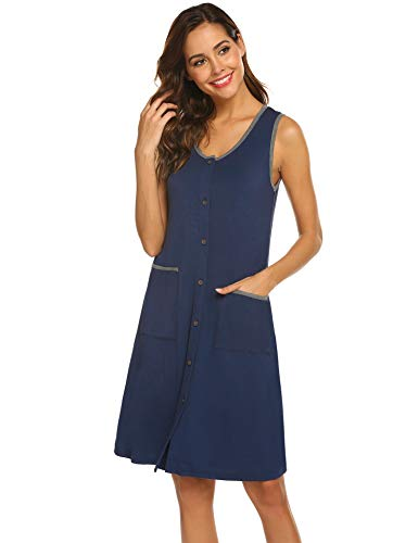 - Ekouaer Sleepshirts Women's Soft Knit Sleepwear Button Down Sleeveless Nightgown (Navy,M)