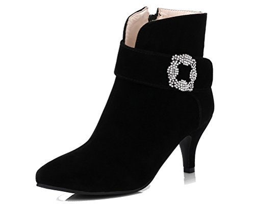 HiTime Ladies Charmingly Rhinestones Casual Shoes Pointed Toe Zip Boots Kitten Heels Office Short Boots Black