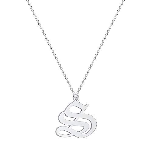 - Elefezar Old English Initial Necklace Alphabet Letter Pendant Necklace Charm Gift for Women (S)