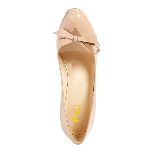 Fsj Femmes Mignonne Bout Rond À Talons Hauts Bow Pompes Glisser Sur Stilettos Slide Chaussures De Découpe Taille 4-15 Nous Nu