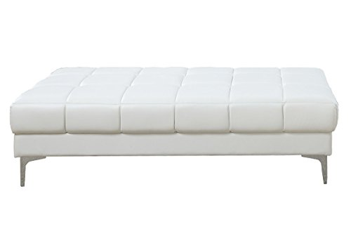 - Poundex F7229 Bobkona Hayden Bonded Leather Ottoman, White