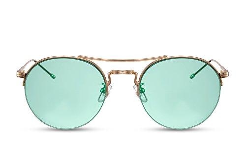 Marron Lunettes Cheapass Rétro Sunglasses Léo Or 025 Noir Miroitant Rondes Ca 1xUSq4