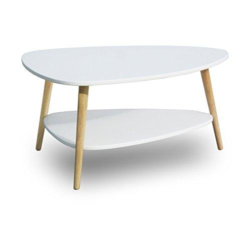 SØRENSEN DESIGN Couchtisch weiß skandinavisches Design Holz clean chic rund oval Retrolook Couchtisch Beistelltisch neu Wohnzimmer Ablage Natur 2 Etagen