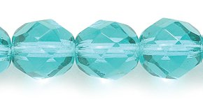 Preciosa Czech Fire 8mm Polished Glass Bead, Faceted Round, Transparent Aqua Green, - 100 Faceted Glass Beads Czech