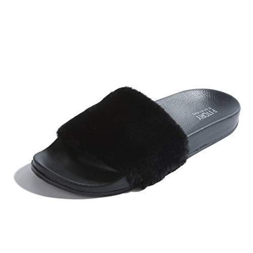 FITORY Women Slides Slippers,Faux Fur Slide Slip On Flat Sandals with Arch Support Girls Indoor Outdoor Shoes Black ()