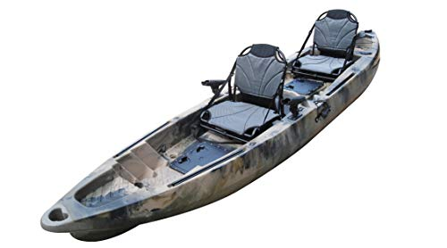 BKC TK122 12.9 Tandem Fishing Kayak W Upright Aluminum Frame with Backrest Support Seats, Paddles, 4 Rod Holders Included 2-3 Person Angler Kayak