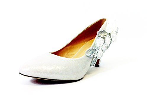 Ktc Women's Glitter Gorgeous Wedding Bridal Crystal Mid Heel Shoes Silver 0aBTGonvSe